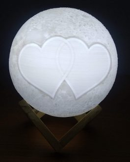 Knostic Technologies Plastic Triple Colour Wireless Chargeable Moon Lamp